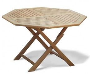 Suffolk Teak Folding Octagonal Garden Table - 120cm - Folding Garden Tables