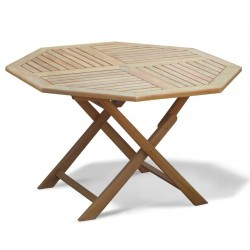Suffolk Teak Folding Octagonal Garden Table - 120cm