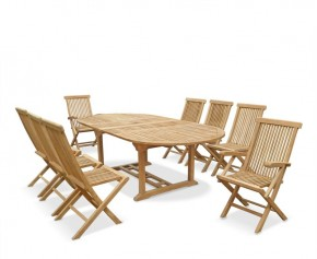 Ashdown 8 Seater Extending Teak Table Set - Folding Chairs