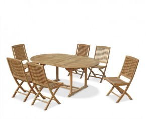 Brompton Teak Double Leaf Extending Garden Table and 6 Chairs Set - 6 Seater Dining Table and Chairs