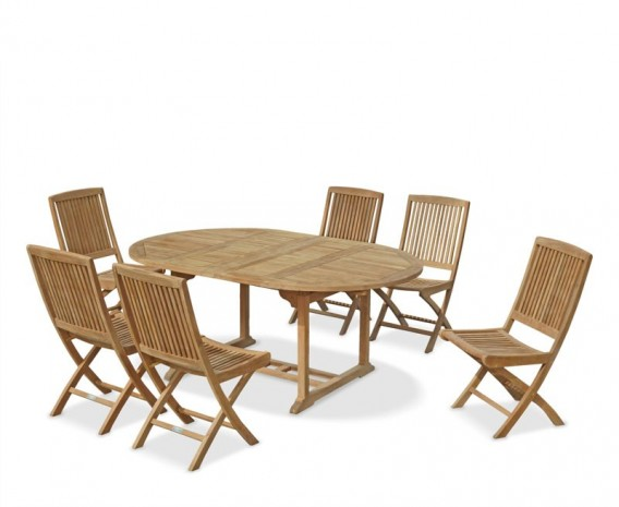 Brompton Teak Double Leaf Extending Garden Table and 6 Chairs Set