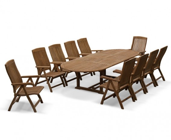 Bali 10 Seater Teak Extending Dining Table and Reclining Chairs Set