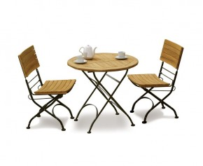 Teak Garden 2 Seater Bistro Set - Outdoor Bistro Dining Set - Folding Chairs