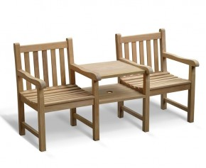 Windsor Vista Teak Garden Companion Seat - Small Garden Benches