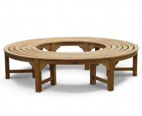 Saturn Teak Circular Tree Seat - Backless Wrap Around Tree Bench - 190cm - 4+ Seater Garden Benches