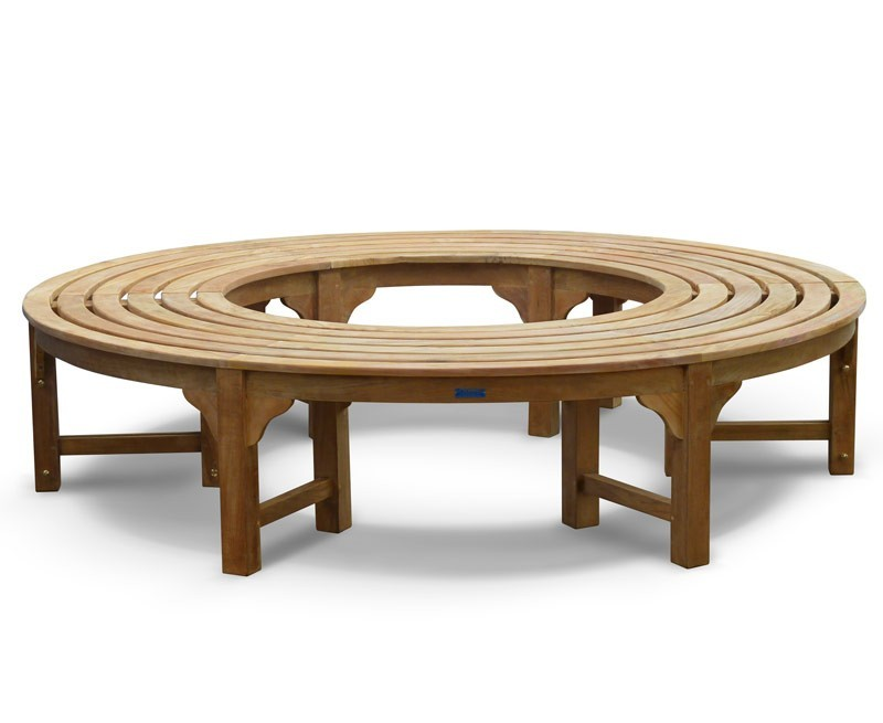 Teak circular tree seat backless wrap around tree bench Circular tree bench