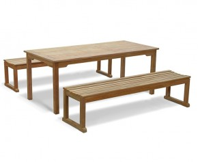Westminster Teak Table and Benches Set - 180cm - Sandringham Dining Set