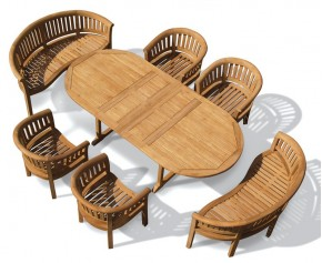 Wimbledon Teak Table and Benches Set - 8 Seater Dining Table and Chairs