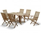 Shelley Teak Garden Gateleg Table and 6 Armchairs - Set 3