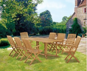 Shelley 1.8m with 8 Bali Armchairs - Shelley Dining Sets
