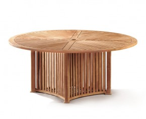 Aero Teak Garden Contemporary Round Table - 180cm - 6 Seater Dining Tables