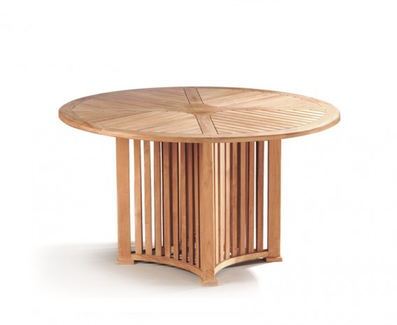 Aero Teak Round Contemporary Dining Table - 130cm