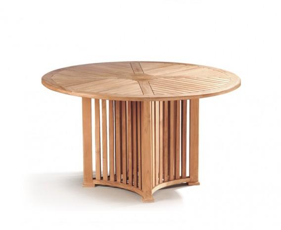 Aero Teak Round Contemporary Dining Table - 130cm