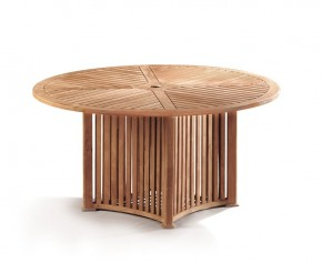 Aero Teak Round Contemporary Outdoor Table - 150cm - 6 Seater Dining Tables