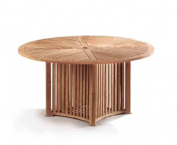Aero Teak Round Contemporary Outdoor Table - 150cm