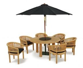 Titan 6 Seater Teak Wooden Patio Dining Set - Contemporary Dining Set