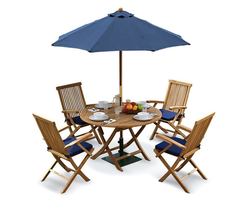 Ashdown Folding Round Garden Table And Arm Chairs Set