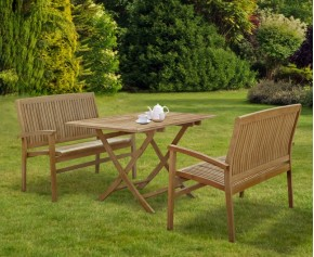 Rimini Teak Table and Benches Set - Stacking Chairs