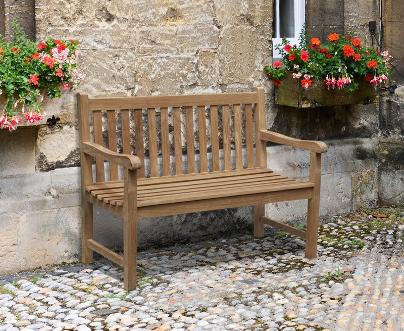 Windsor Teak 4ft Garden Bench Small Outdoor Bench
