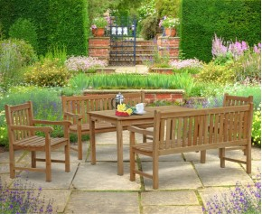 Sandringham Teak Chairs, Table and Benches Set - Windsor Dining Set