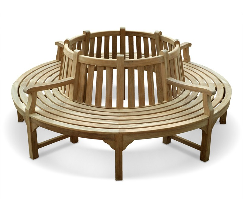 Round Tree Bench With Arms: circular tree bench