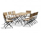 Rectangular Teak Bistro Dining Set with 8 Chairs