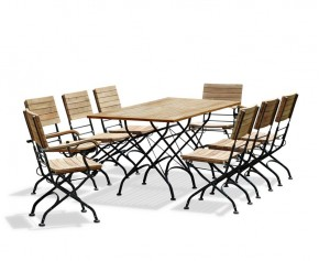 Rectangular Teak Bistro Dining Set with 8 Chairs - Large Dining Sets
