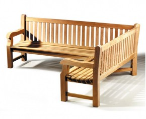 Balmoral Teak Wooden Corner Garden Bench (Right Orientation) - Extra Large Garden Benches