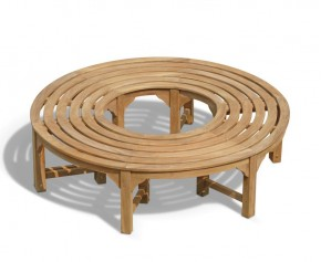 Saturn Teak Circular Tree Bench - 160cm - Backless Garden Benches
