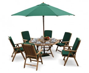 Suffolk Round Folding Table and 6 Reclining Chairs Set -