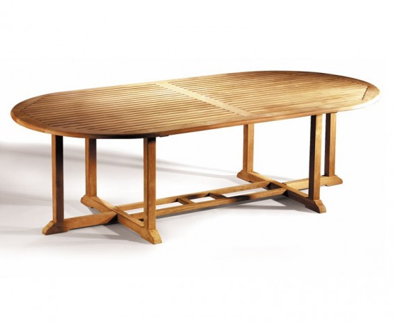 Hilgrove Deluxe Teak Oval Garden Garden Table - 2.6m x 1.2m