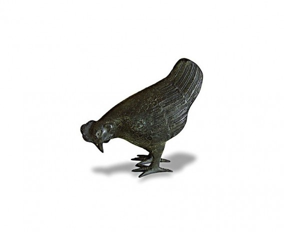 Small Hen Brass Garden Ornament