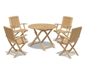 Suffolk Folding Round Garden Table and 4 Armchairs set - Round Table