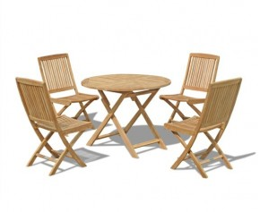 Suffolk Folding Round Garden Table 1m and 4 Dining Chairs set - 4 Seater Dining Sets