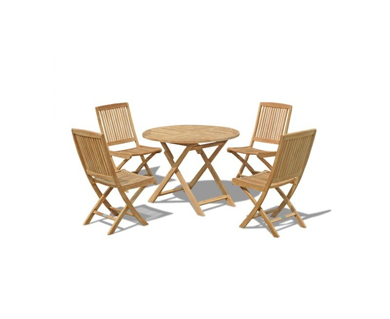 sets suffolk folding round garden table 1m and 4 dining chairs set