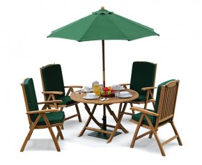 Suffolk 4 Seater Teak Round Garden Table and Chairs Set - Reclining Chairs