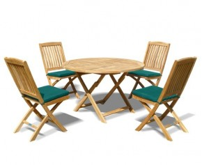 Suffolk Teak Folding Round Garden Table and 4 Bali Chairs Set - 4 Seater Dining Sets