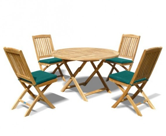 Suffolk Teak Folding Round Garden Table and 4 Bali Chairs Set