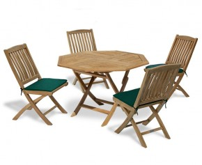 Suffolk Teak Octagonal Folding Garden Table and 4 Bali Chairs Set - 4 Seater Dining Sets