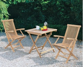 Rimini Patio Garden Folding Table and Chairs Set - Outdoor 2 Seater Folding Dining Set