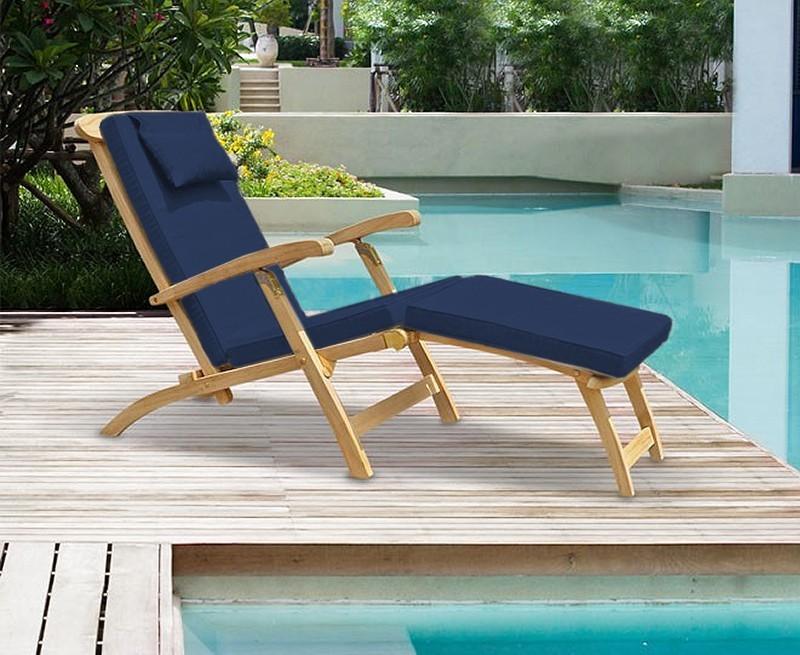 Halo Teak Steamer Chair with Free Cushion Brass Fittings – Teak Steamer Chair Cushions