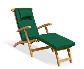Halo Teak Steamer Chair with Cushion - Teak Sun Loungers
