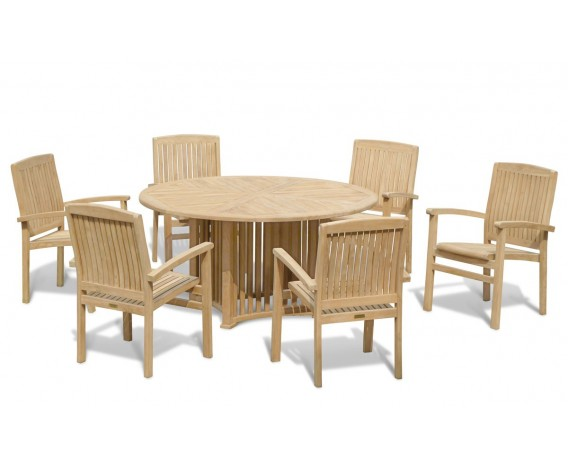 Aero Round Table 1.5m with 6 Bali Stacking Chairs