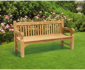 Balmoral Queen Elizabeth II 90th Birthday Bench - Large Garden Benches