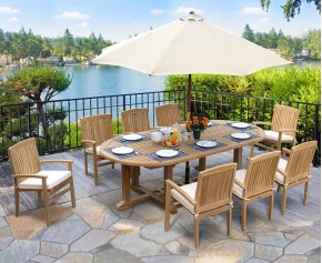 Hilgrove 2.6m Large Oval garden Table and 8 Stackable Chairs Set - Teak Garden Furniture Sale