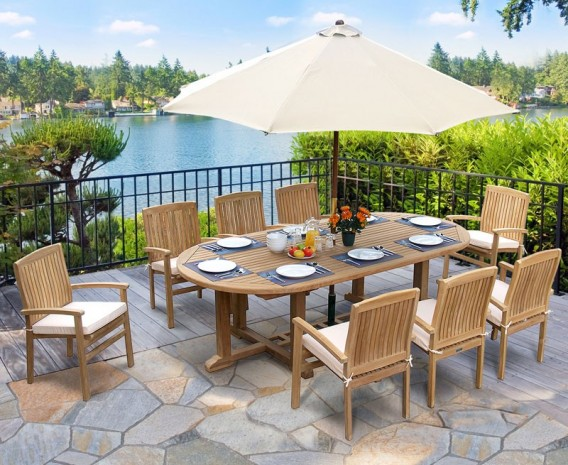 Hilgrove 2.6m Large Oval garden Table and 8 Stackable Chairs Set