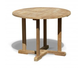 Canfield Teak Round Outdoor Dining Table - 1m - Fixed Tables