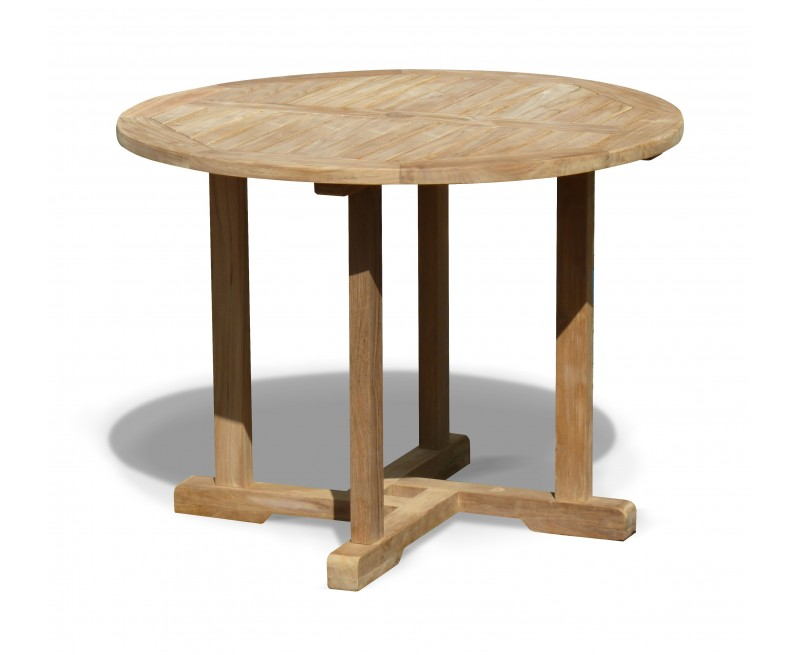 canfield teak round outdoor dining table. Black Bedroom Furniture Sets. Home Design Ideas