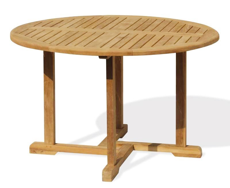 Canfield teak patio table and stacking chairs
