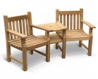 Taverners Garden Teak Companion Seat - Jack and Jill Seat